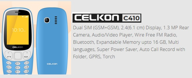 Celkon C410 price for online buying india image
