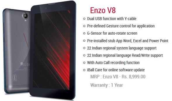 iBall Slide Enzo V8 coming soon India pic