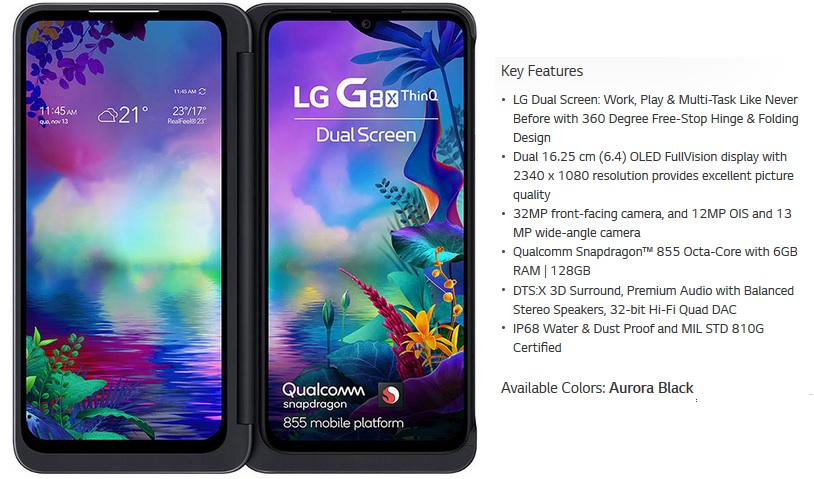 LG G8X ThinQ at affordable price in India iimage
