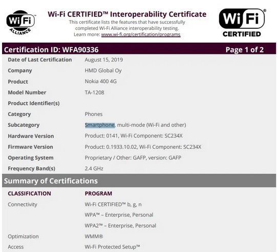 Nokia 400 4G Wi-Fi certification image for 2020 in India