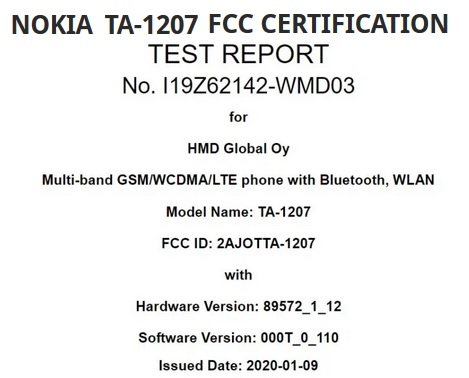 Nokia TA-1207 image for FCC certification and India