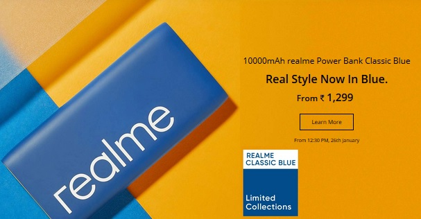 Realme 10000mAh power bank classic blue version features at a glance in India pic