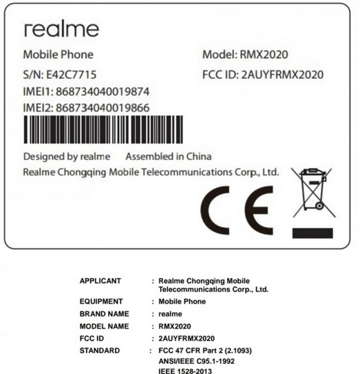Realme C3s upcoming model at FCC with few features details pic