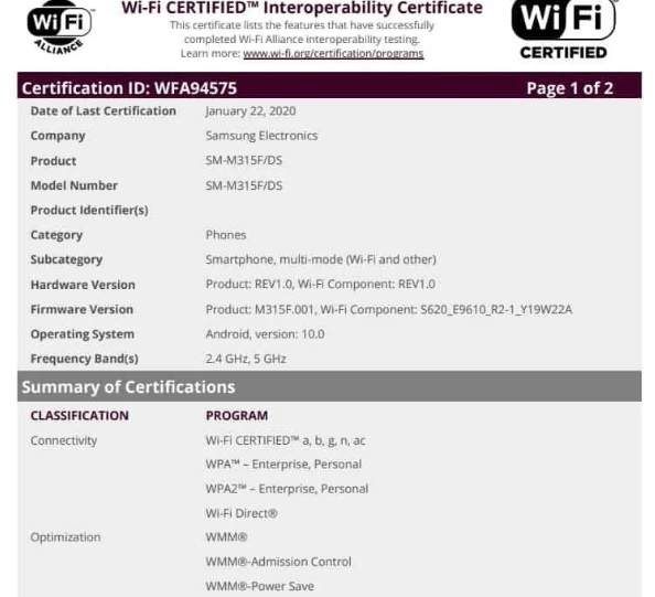 Samsung Galaxy M31 with Wi-Fi certification pic