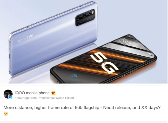Vivo iQOO Neo 3 coming as better gaming model pic