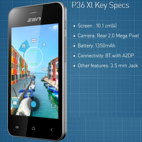 Zen P36 XL price in India pic