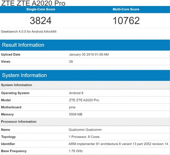 ZTE A2020 Pro information on price in India pic